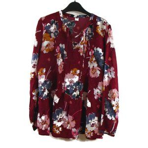 Old Navy Floral Blouse M Long Sleeve Soft Thin